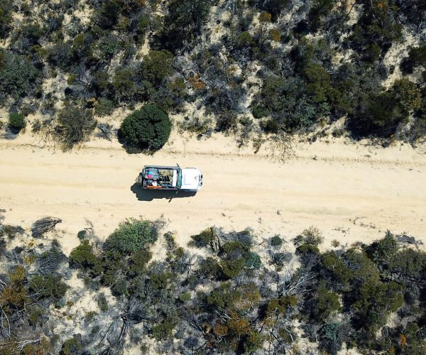 Top down view of 4WD landcruiser on outback road